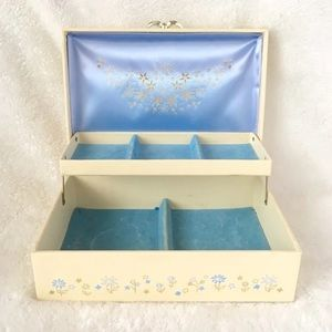Vintage Jewelry Box Cream And Blue Large Clean Big